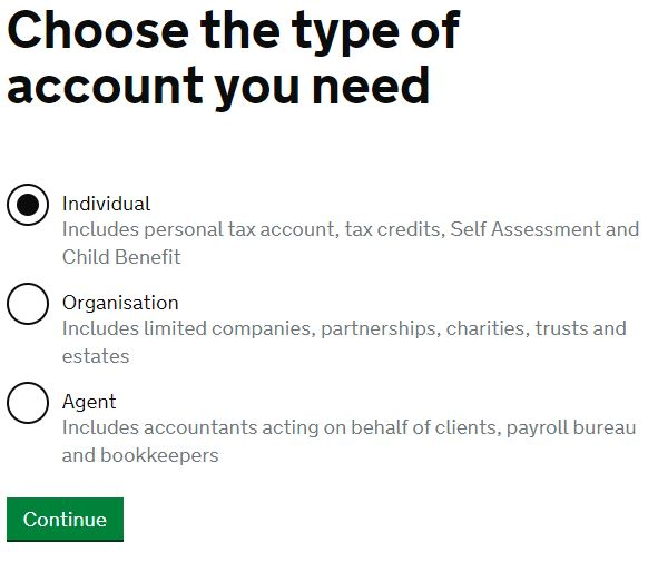 chose type for PERSONAL TAX ACCOUNT