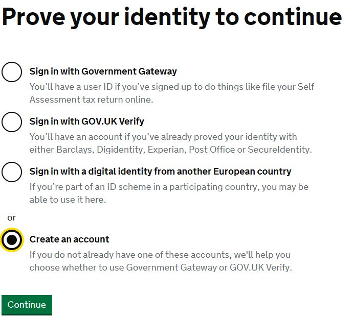 HMRC Government Gateway account